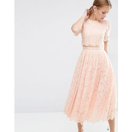 ASOS Lace Crop Top Midi Prom Dress - Pink, kolor różowy