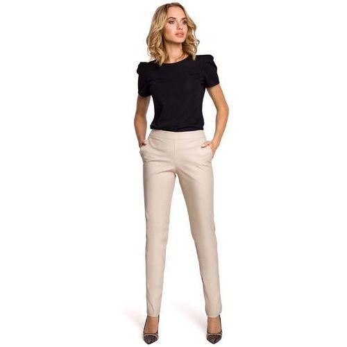 Beżowe eleganckie spodnie rurki z eko-skóry, Moe, 36-42