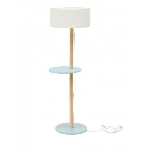 Lampa podłogowa drewniana ufo - jasnoszara/abażur biały marki Ragaba