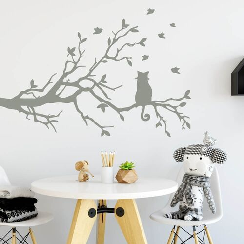 Wally - piękno dekoracji Szablon do malowania kot na gałęzi 2382