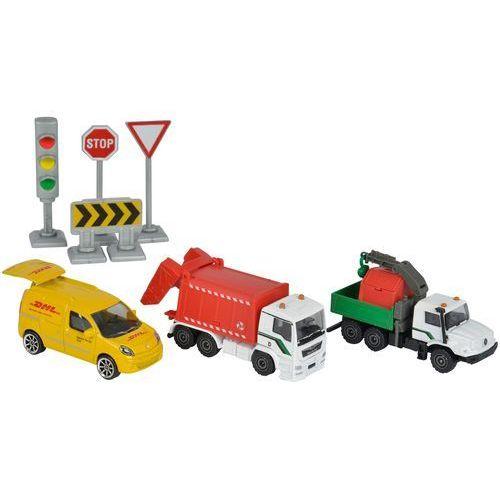 zestaw miejski śmieciarka, bus dhl, ciężarówka i znaki marki Majorette