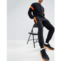 skinny fit joggers with stripe detail in black - black, Boohooman, S-XL