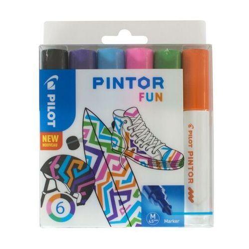 Marker PILOT Pintor M SET FUN mix kpl.6 czarny, fiolet, lazur, różowy, j.zielony (3131910517436)