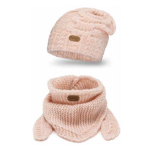 Pamami Zimowy komplet dziewczęcy - czapka i chusta - jasny róż (5902934087735)