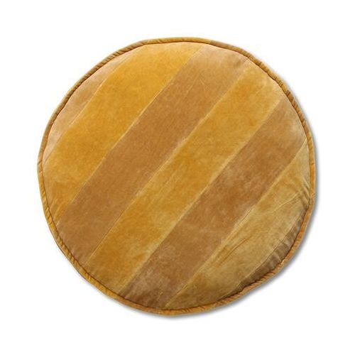 Hkliving poduszka do siedzenia okrągła w paski ochra-złote (60ø) tku2128