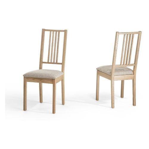Drewniane krzesło tapicerowane beżowe - krzesło do jadalni, kuchni - CHELSEA, kolor beżowy