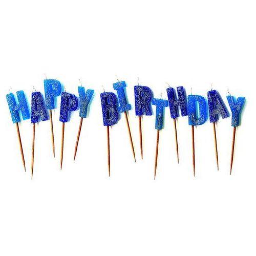 Unique Zestaw świeczek na pikerach happy birthday niebieskie - 1 kpl. (0011179344314)