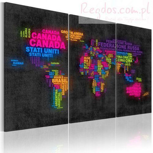 Obraz - Mapa świata - nazwy państw w języku włoskim - tryptyk - produkt z kategorii- Fototapety