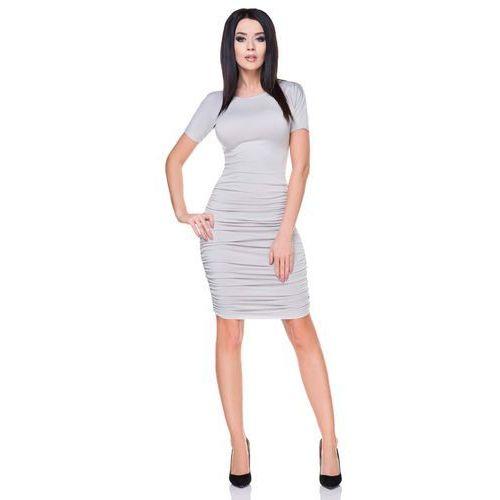 Jasno szara sukienka bodycon drapowana na bokach marki Tessita
