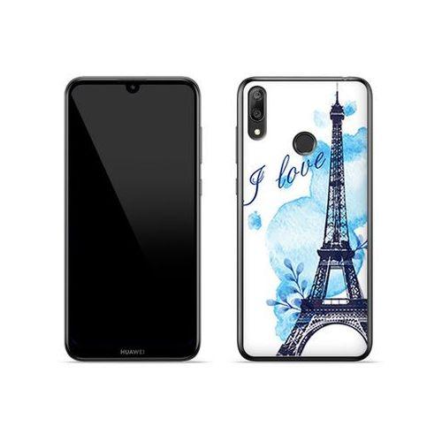 Huawei Y7 (2019) - etui na telefon Fantastic Case - niebieska wieża eiffla