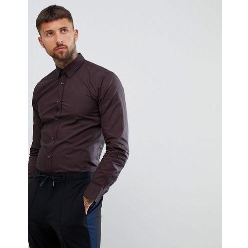 HUGO Elisha extra slim fit poplin shirt with HUGO print in black/burgundy - Black
