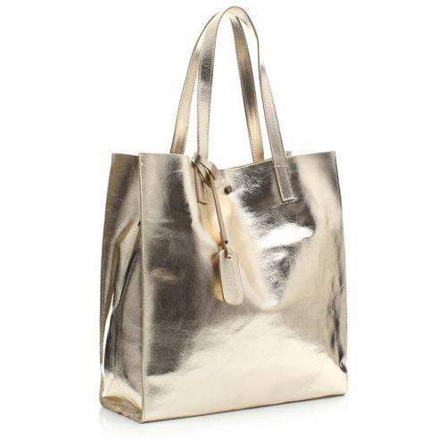 Torba Skórzana Shopper Bag z Kosmetyczką Złota (kolory), 205454zl
