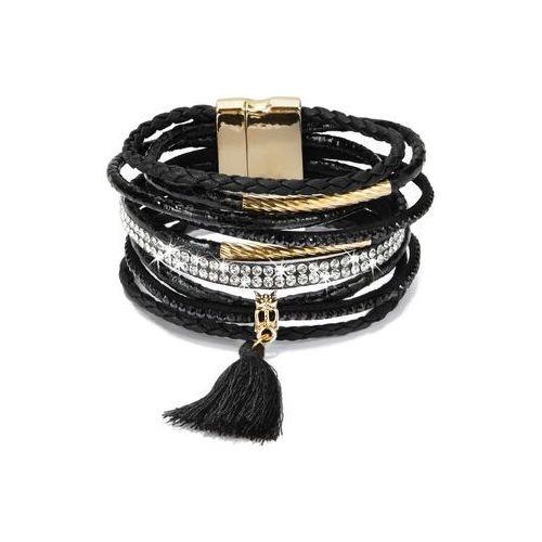 Szeroka bransoletka z chwostem bonprix czarno-srebrny kolor