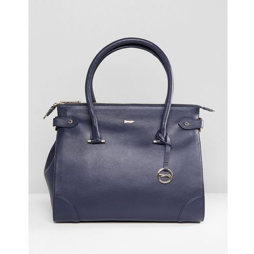 Paul Costelloe Real Leather Classic Zip Top Tote in Navy - Blue