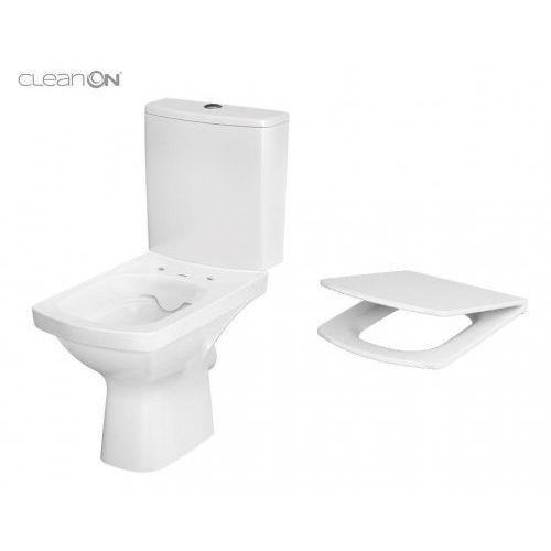 Cersanit kompakt easy clean on poziomy (zbiornik 010 + deska duroplast wolnoopadająca) k102-028
