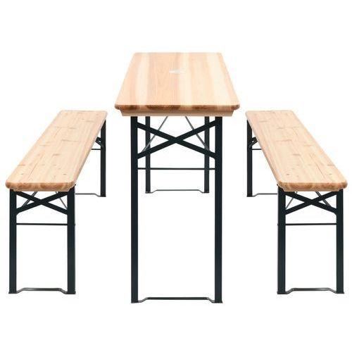 vidaXL Składany stół biesiadny z 2 ławkami, 177 cm, drewno sosnowe, vidaxl_42206