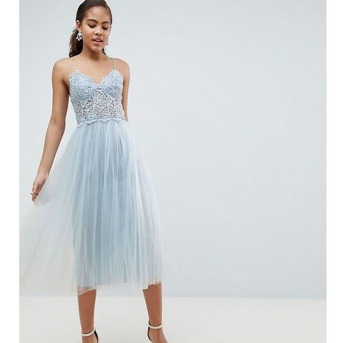 ASOS DESIGN Tall premium lace cami top tulle midi dress - Blue, kolor niebieski