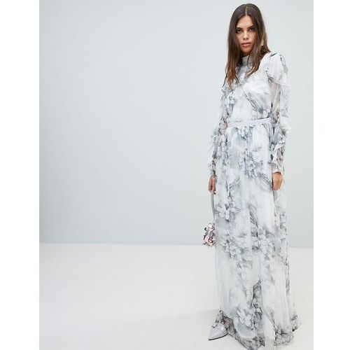 soft floral maxi dress with ruffle sleeves - multi, Y.a.s, 36-40