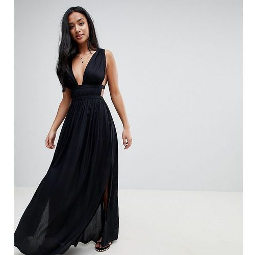 ASOS DESIGN Petite grecian plunge maxi woven beach dress - Black, kolor czarny