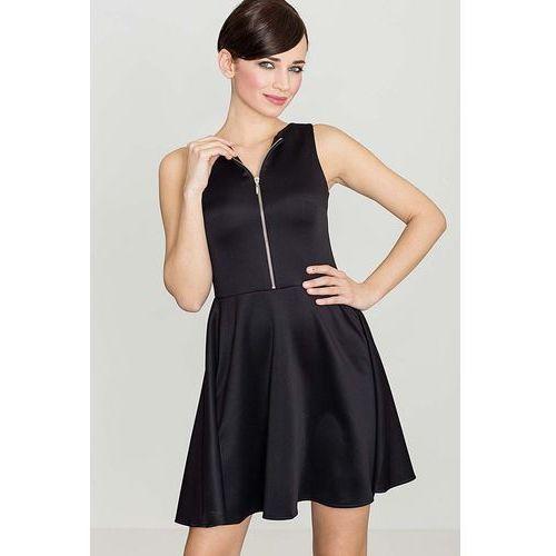 Czarna rozkloszowana sukienka z ozdobnym suwakiem marki Katrus