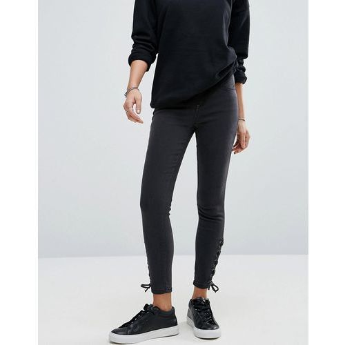 lace up skinny jeans - black, New look