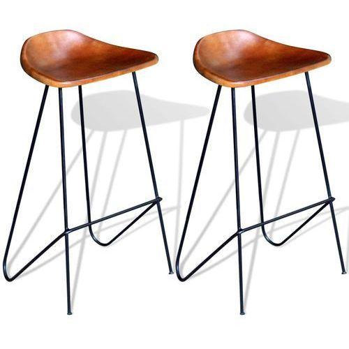 Vidaxl krzesła barowe, 2 szt., czarno-brązowe, skóra naturalna