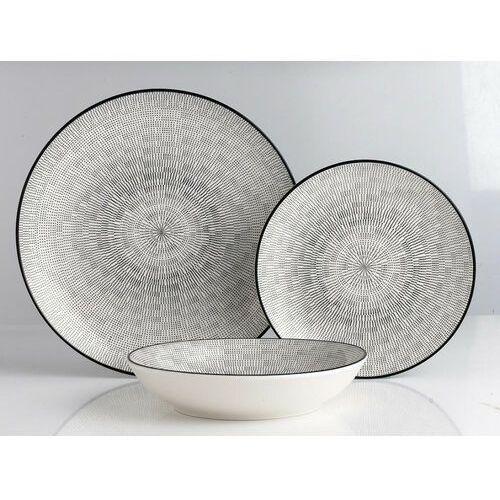 Serwis obiadowy z cienkiej porcelany osis - 18-częściowy - biały w czarne wzory marki Sia