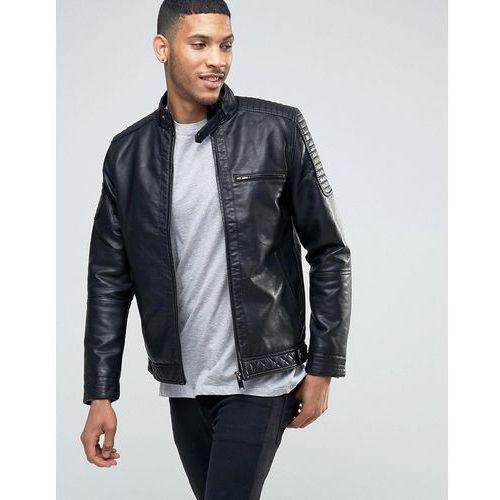 biker jacket with racer neckline in faux leather black - black marki River island