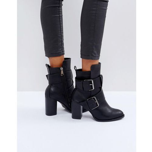 Glamorous Black Double Buckle Heeled Ankle Boots - Black