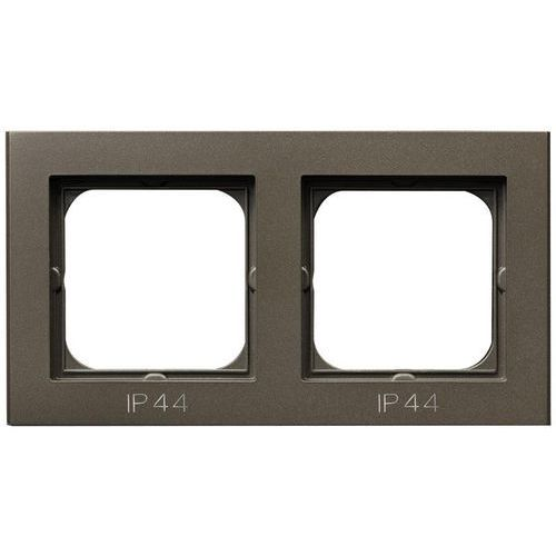 Ospel Sonata ramka podwójna czekoladowy metalik pozioma i pionowa ip44 rh-2r/40