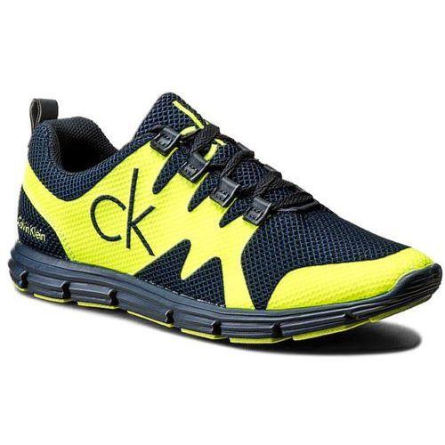 Calvin klein Sneakersy jeans - murphy se8525 navy/yellow fluo
