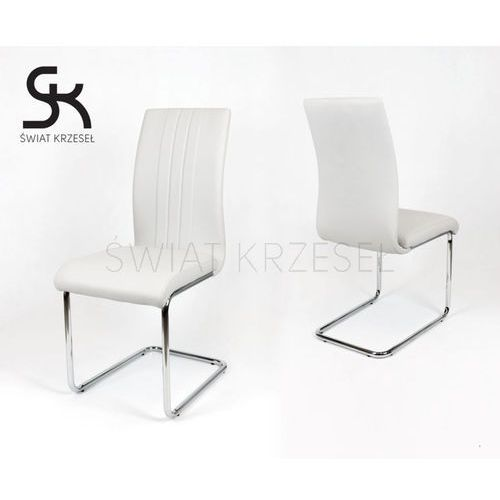 Sk design  ks033 jasnoszare krzesło z ekoskóry na chromowanym stelażu