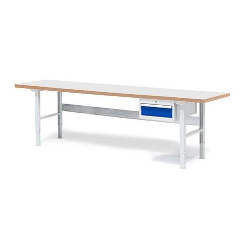 Stół warsztatowy SOLID, z szufladą, 500 kg, 2500x800 mm, laminat