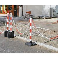 Zestaw łańcuchowych stojaków ostrzegawczych, składany, wys. słupka 900 mm, czerw
