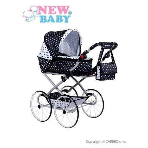 Retro wózek dla lalek 2w1  natalia biało-czarny marki New baby