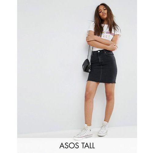 ASOS TALL Denim Original High Waisted Skirt in Washed Black With Raw Hem - Black