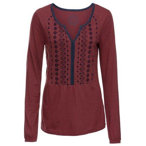 Tunika shirtowa z nadrukiem, długi rękaw bonprix czerwony kasztanowy, w 8 rozmiarach