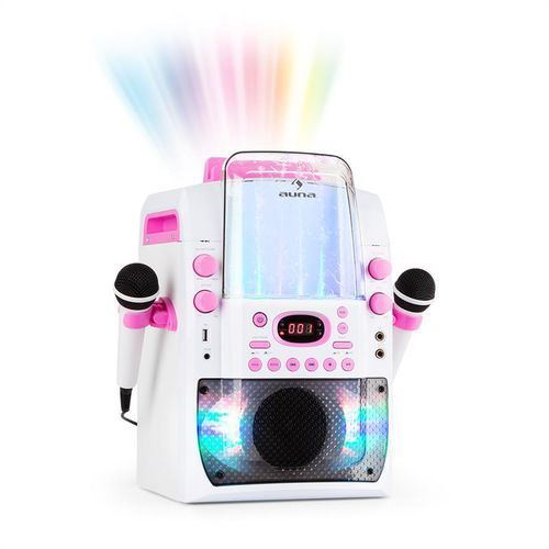 auna Kara Liquida BT Zestaw karaoke show świetlne fontanna Bluetooth biały/różow
