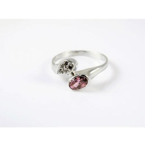 Srebrny pierścionek 925 RÓŻOWE I BIAŁE OCZKA r. 16, kolor różowy