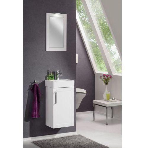 Lustro łazienkowe z oświetleniem prostokątne 35,x59 cm Delta Biała rama