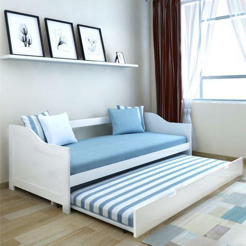 vidaXL Wysuwane łóżko sosnowe/sofa 200x90 cm Białe (8718475977667)