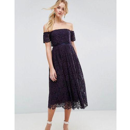ASOS Off the Shoulder Lace Prom Midi Dress - Blue, kolor niebieski