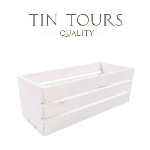 Biała drewniana skrzynka na balkonówkę 40x18x15h cm marki Tin tours sp.z o.o.