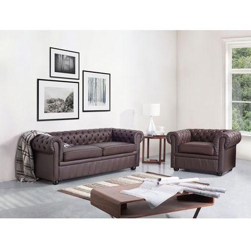 Beliani Sofa kanapa skórzana brązowa klasyka dom biuro chesterfield, kategoria: sofy