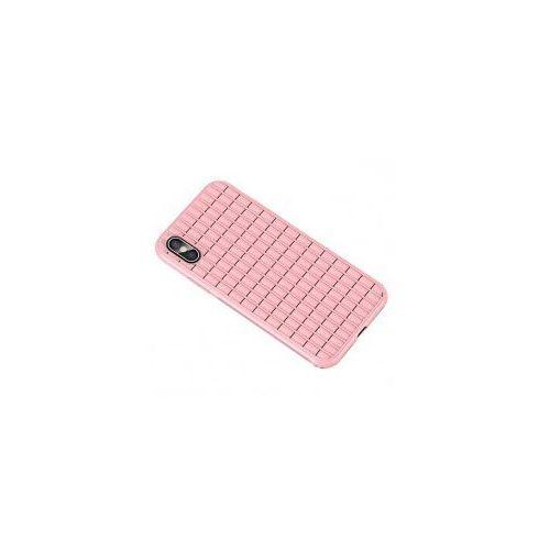 iPaky Waffle elastyczne etui pokrowiec iPhone XS / X różowy, kolor różowy