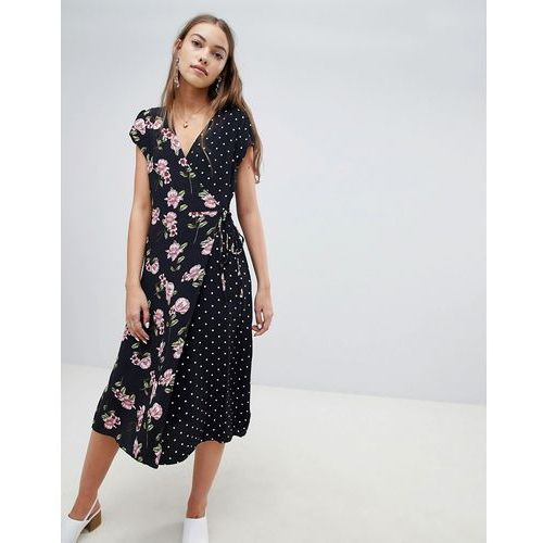 mix and match print midi dress - black marki New look