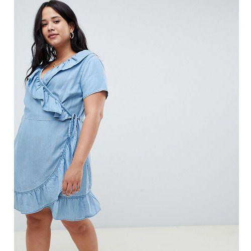 Asos design curve denim wrap dress with frill detail in midwash blue - blue, Asos curve