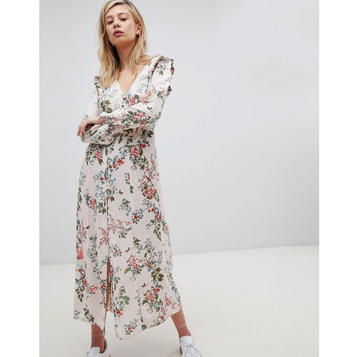 New look button front floral printed maxi tea dress - multi