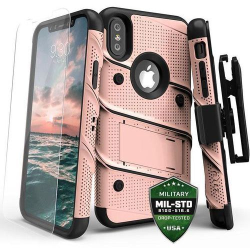 bolt cover etui pancerne iphone x (rose gold/black) + szkło hartowane na ekran marki Zizo
