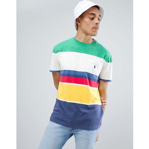 Polo ralph lauren cp-93 capsule stripe t-shirt pocket player logo in multi - multi